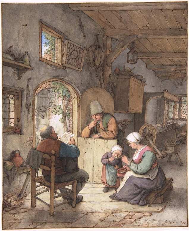 Leyendo las noticias en casa del tejedor