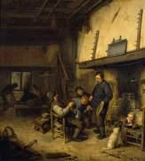 Campesinos ante la chimenea en una posada