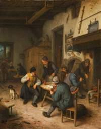 El interior de una posada con campesinos jugando a cartas