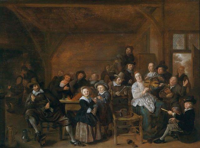 Alegre grupo en una taberna