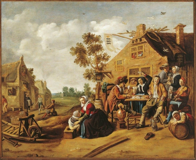 Campesinos ante una taberna