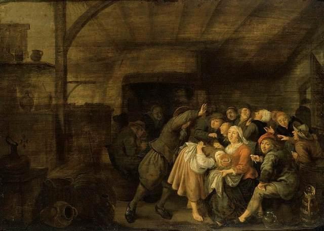 Campesinos en una posada jugando a 'La mano caliente (1)