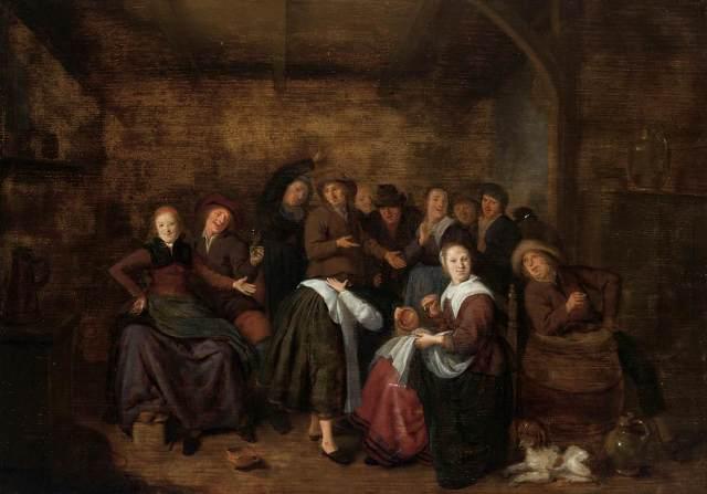 Campesinos en una posada jugando a 'La mano caliente (2)