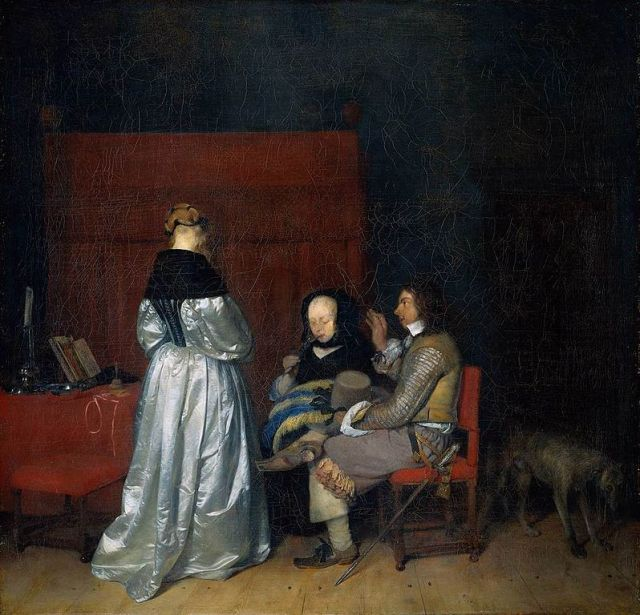 Conversacion galante o Tres figuras conversando en un interior o La admonicion paterna (1654-1655)