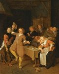 Escena de burdel con una pareja danzando dos abrazándose y un hombre haciendo musica