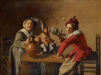 Interior con niños bebiendo y haciendo travesuras