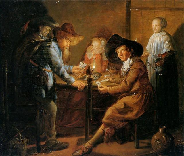 Jugadores de cartas  a la luz de las velas