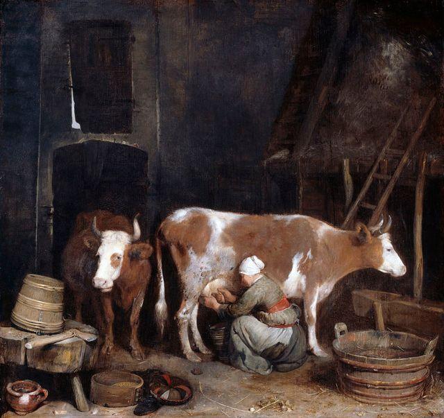 Mujer ordeñando una vaca en un granero (1652-1654)