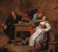Campesinos en una posada, con una pareja cortejando