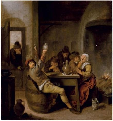 Campesinos fumando y bebiendo en una mesa