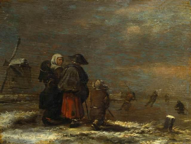 Paisaje invernal con molino de viento (1650')