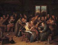 Fiesta de monjes en una taberna