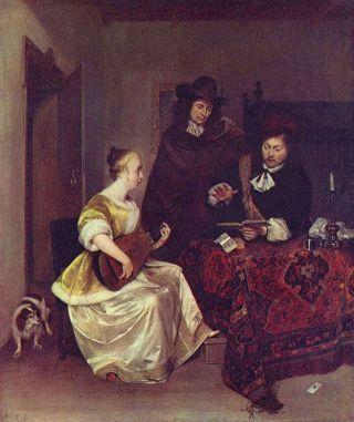 Una mujer tocando el teorbo ante dos hombres