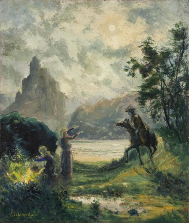 Macbeth y las brujas (Louis M. Eilshemius, 1909)