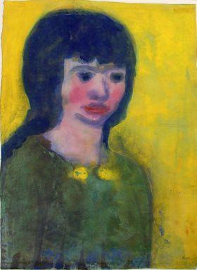 Retrato de una joven con el cabello oscuro (Emil Nolde)