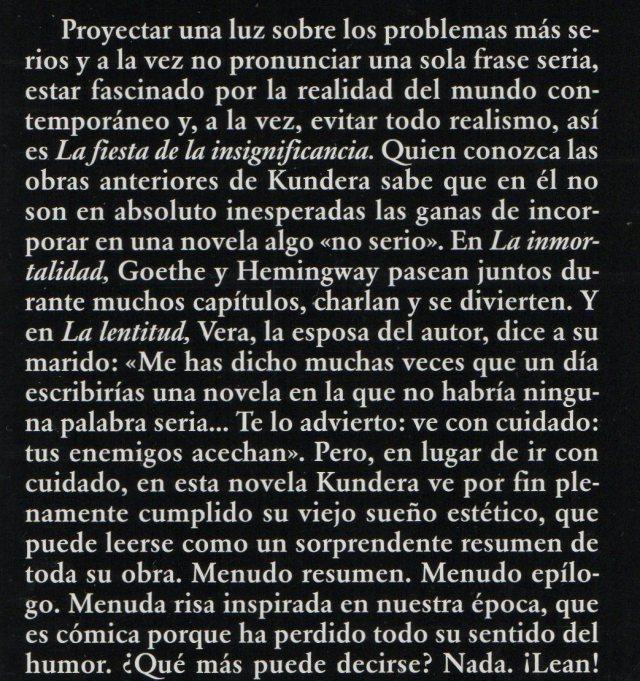 Kundera - La fiesta de la insignificancia - b