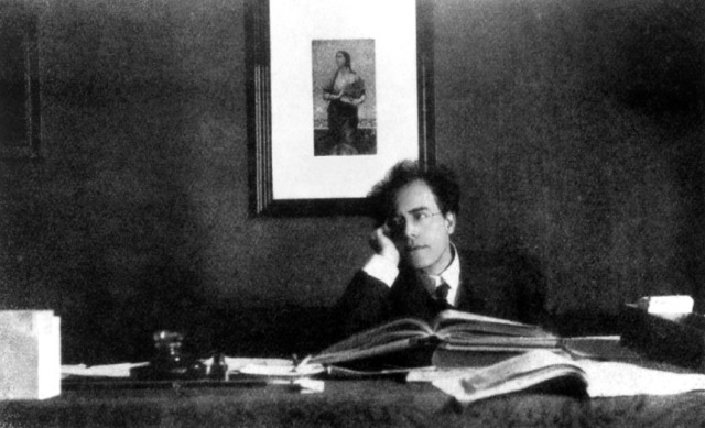 Gustav Mahler at his desk in the Vienna Opera House.