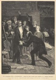 Paganini se arrodilla ante Berlioz