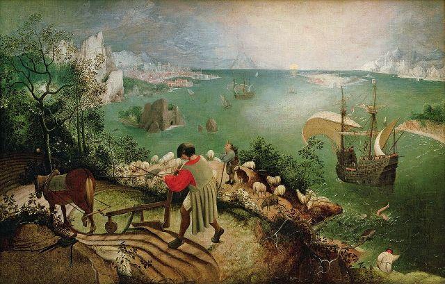 Paisaje con la caída de Ícaro (atribuido a Pieter Brueghel el Viejo, 1554-1555)