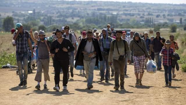 Refugiados sirios caminan por una carretera en la ciudad de Miratovac, en Serbia (24/agosto/2015, Reuters. Marko Djuric).jpg