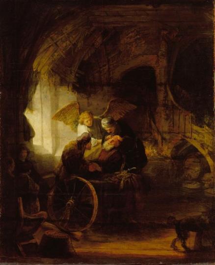 Circulo de Rembrandt -Tobias y el Angel curando la ceguera de su padre