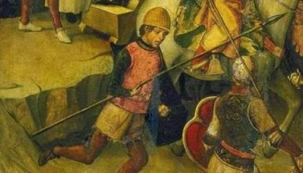 Soldado de la Santa Hermandad, un mangas verdes que nunca llegaba a tiempo, en Auto de fé (Pedro Berruguete, 1475)