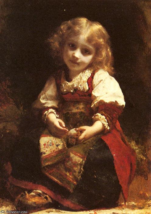 Niña con pajarito (Etienne Adolphe Piot)