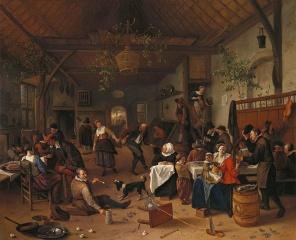 Alegría en una taberna con una pareja bailando