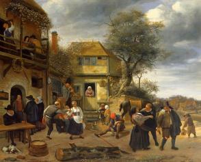 Campesinos ante una posada