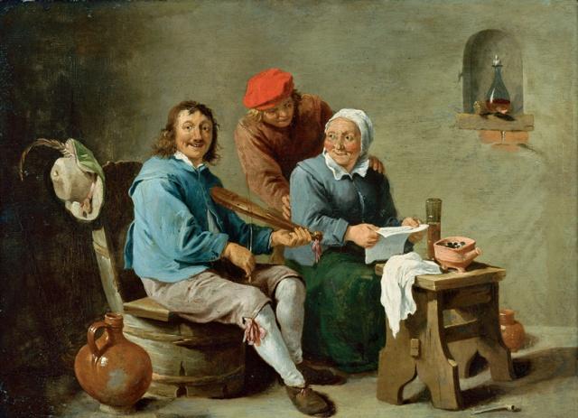 Escena doméstica con tres figuras