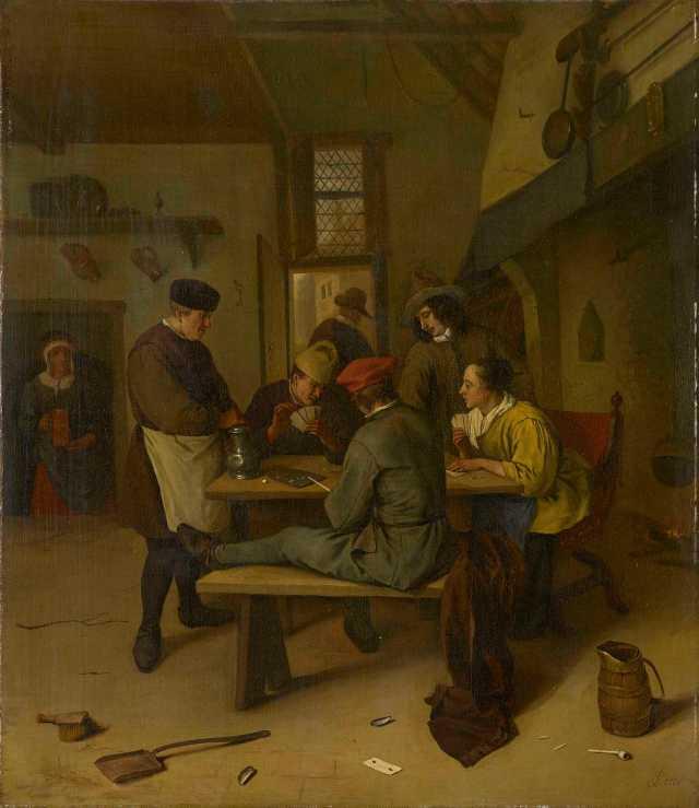 Jugadores de cartas en una taberna